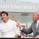 Ames, IA - September 11, 2021 - Jack Trice Stadium: Ashton Kutcher with Lee Corso on the set of College GameDay Built by the Home Depot. (Photo by Allen Kee / ESPN Images)