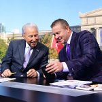 Chicago, IL - September 25, 2021 - Solidier Field: Lee Corso and Kirk Herbstreit on the set of College GameDay Built by the Home Depot. (Photo by Phil Ellsworth / ESPN Images)