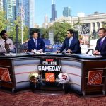 Chicago, IL - September 25, 2021 - Solidier Field: Desmond Howard, Rece Davis, Lee Corso and Kirk Herbstreit on the set of College GameDay Built by the Home Depot. (Photo by Phil Ellsworth / ESPN Images)