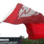 State College, PA - September 18, 2021 - Pennsylvania State University: Flag of the Washington State Cougars on the set of College GameDay Built by the Home Depot.