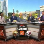 Chicago, IL - September 24, 2021 - Soldier Field: Flag of the Washington State Cougars on the set of College GameDay Built by the Home Depot.