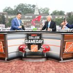 Athens, GA - October 2, 2021 - University of Georgia: Rece Davis, Lee Corso and Kirk Herbstreit on the set of College GameDay Built by the Home Depot.(Photo by Scott Clarke / ESPN Images)