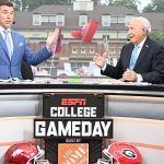 Athens, GA - October 2, 2021 - University of Georgia: Rece Davis and Lee Corso on the set of College GameDay Built by the Home Depot.(Photo by Scott Clarke / ESPN Images)