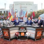Dallas, TX - October 9, 2021 - Cotton Bowl Stadium: Desmond Howard, Rece Davis, Lee Corso and Kirk Herbstreit during the College GameDay Built by the Home Depot. (Photo by Allen Kee / ESPN Images)