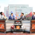Dallas, TX - October 9, 2021 - Cotton Bowl Stadium: Desmond Howard, Rece Davis, David Pollack and Kirk Herbstreit during College GameDay Built by the Home Depot.(Photo by Allen Kee / ESPN Images)
