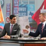 Dallas, TX - October 9, 2021 - Cotton Bowl Stadium: David Pollack and Kirk Herbstreit during College GameDay Built by the Home Depot. (Photo by Allen Kee / ESPN Images)